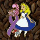 Purple Ribbon Pins Alice & Cheshire Cat Pin