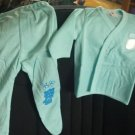 """""""Kitty"""" Infant pajamas with footies, Blue, two piece, long sleeves 0-3 month sizing"""