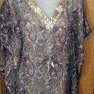 Sheer Chiffon, Beaded/Jeweled Tunic, Women's 1X, Olive Paisley