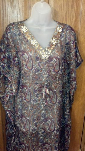Sheer Chiffon, Beaded/Jeweled Tunic, Women's 1X, Olive Paisley