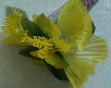 Yellow Hibiscus Flower hair clip