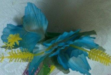 Blue Hibiscus Flower hair clip