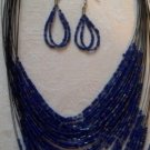 Midnight Blue seed bead necklace & matching earrings