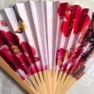 "Fans, Wooden, Red Flowers, Yellow Bird, Hand Held, paper fabric by ""Oriental Breeze"""