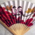 "Fans, Wooden, Red Yellow Flowers, two Birds, Hand Held, paper fabric by ""Oriental Breeze"""