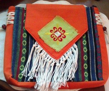 Free Spirit  purse, Orange Wonder with multicolor stripes, cross-body