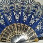 "Folding Fan Midnight blue silk with white & gold sunburst floral design by ""Silk Breeze"""