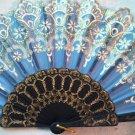 """Folding Fan, Sky Blue silk, quarter moon & teardrop design, gold & white flowers by """"Silk Breeze"""""""