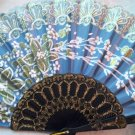 "Folding Fan, Sky Blue silk with gold and white floral spray by ""Silk Breeze"""