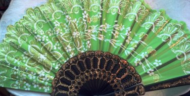 "Folding Fan, Emerald Green silk with gold and white floral spray by ""Silk Breeze"""