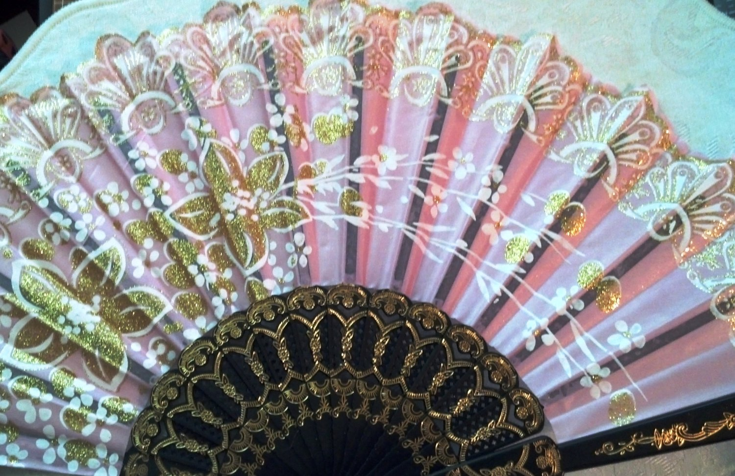 """Folding Fan, dusty pink silk with gold and white floral spray by """"Silk Breeze"""""""