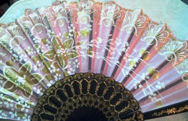 "Folding Fan, dusty pink silk with gold and white floral spray by ""Silk Breeze"""