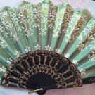 "Folding Fan, Sage Green silk with gold and white floral design by ""Silk Breeze"""