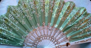 """Folding Fan, Sage Green silk with gold and white floral design by """"Silk Breeze"""""""