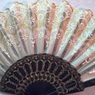 "Folding Fan, Golden silk, quarter moon & teardrop floral design by ""Silk Breeze"""