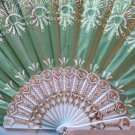 "Folding Fan, Sage Green silk with gold and white floral burst design by ""Silk Breeze"""