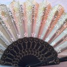 "Folding Fan, Golden silk with gold glitter and white floral design by ""Silk Breeze"""