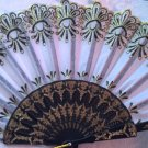 "Folding Fan, light gray silk with gold glitter and black sunburst design by ""Silk Breeze"""