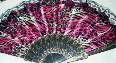 "Folding Fan, Vivid Pink silk with Black and White Tiger design by ""Silk Breeze"""