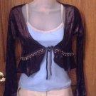 Junior girls Decorative Jacket, Chocolate Brown, Long Sleeves, Medium