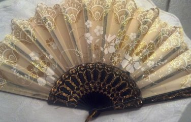 "Folding Fan,Gold silk with Gold and White Sunburst floral design by ""Silk Breeze"""
