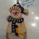 Christmas ornament, wooden Snowman
