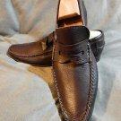 Original CALZOLERIA TOSCANA Brown HANDMADE Loafers Shoes Genuine LEATHER Sz 9/42