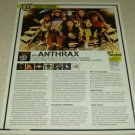 Anthrax 1 Page Article/Clipping