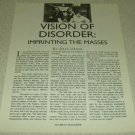 Vision Of Disorder 1 Page Article/Clipping