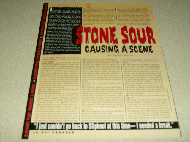 Stone Sour 1 Page Article/Clipping #2 - Corey Taylor