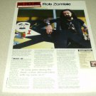 Rob Zombie 1 Page Article/Clipping #5