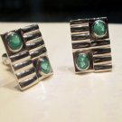 "Precious Emerald Gemstone Men""s Cufflinks 925 Sterling Silver !"