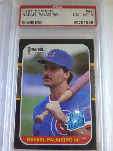 RAFAEL PALMEIRO 1987 Donruss Rookie Card RC #43 PSA NM-MINT 8 CUBS RANGERS