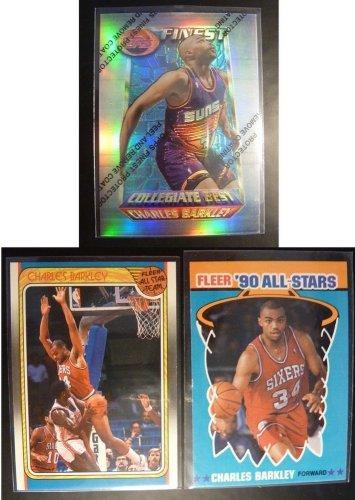 1994-95 Topps Finest Charles Barkley Refractor Card #275 + 1988 1990 Fleer Suns