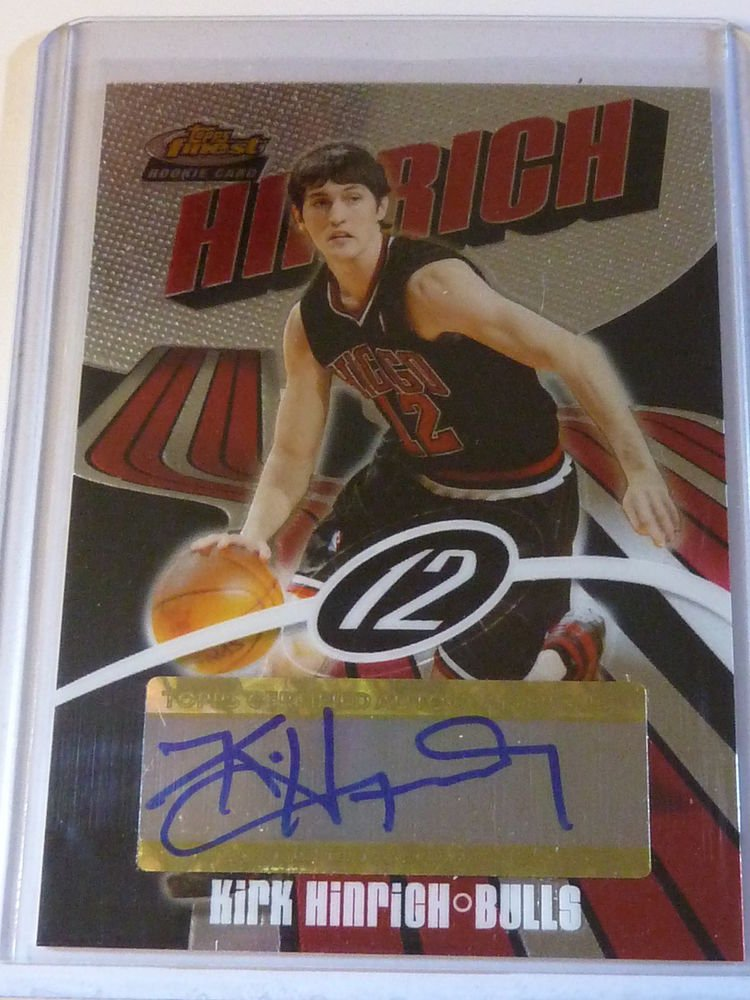 2003-04 Topps Finest KIRK HINRICH Auto Graph RC Rookie Card #138 #837/999 Bulls