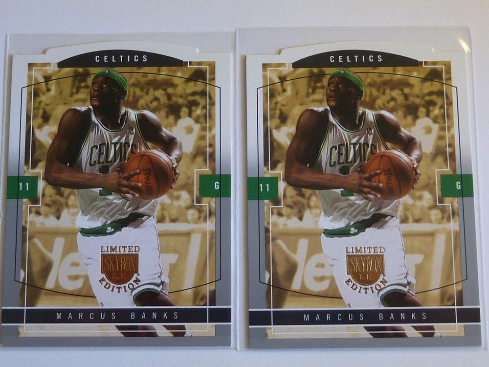 2003-04 Skybox LE MARCUS BANKS Rookie 2 Card RC LOT #114 #/399 Celtics Die-Cut