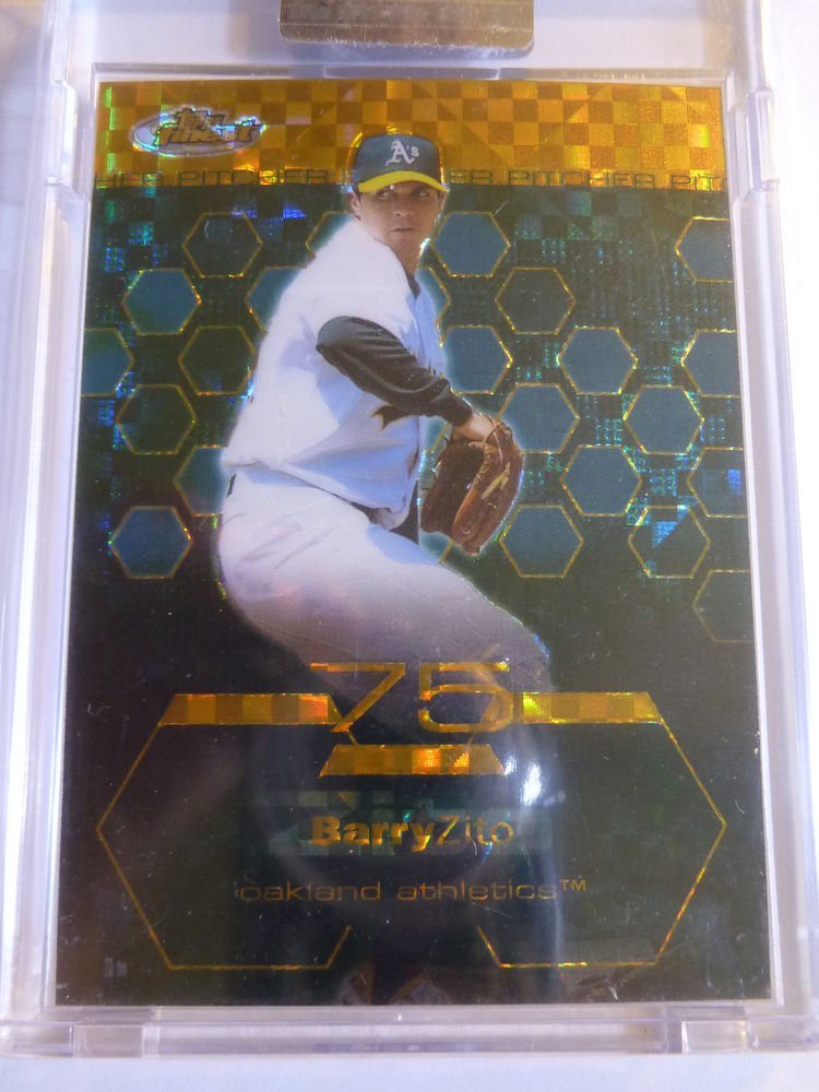 2003 Topps Finest BARRY ZITO Gold XFractor Card #11 #164/199 A's Giants Encased