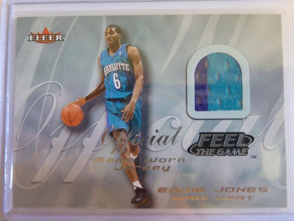 EDDIE JONES 2000-01 Fleer Feel The Game 2 Color Jersey Patch Card Hornets Heat