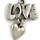 Love With Heart lead free pewter charm lot 25 pieces