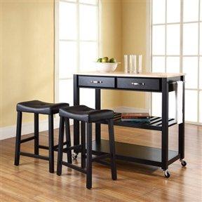 Stainless Steel Top Kitchen Cart Island   Black