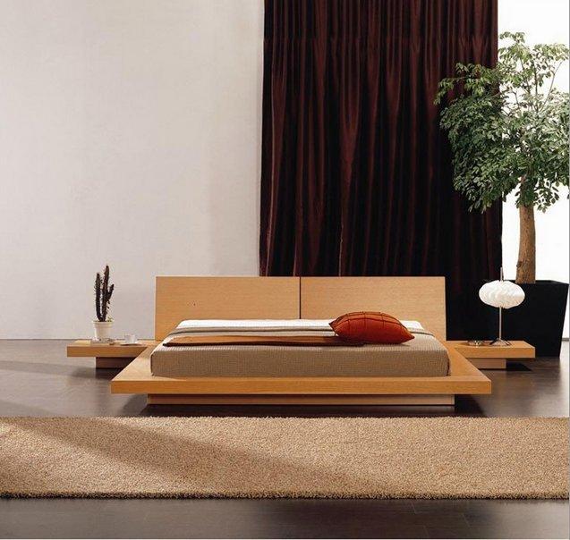 Fujian Platform Bed & 2 Nightstands - King   Oak