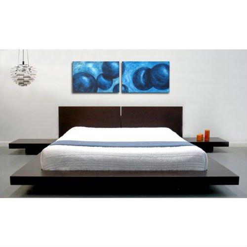 Fujian Platform Bed & 2 Nightstands - Queen   Espresso