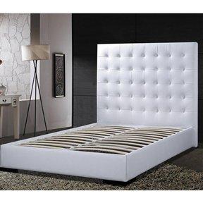 Modern Tufted Grand Platform Bed - Queen   White