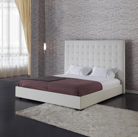 Modern Tufted Platform Bed - Queen | White