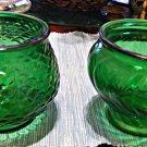 E.O. Brody Fishscale Vase & Napco Swirl Vase in Forest Green Glass