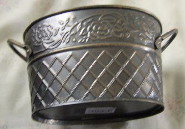 Decorative Metal Oval Basket w/Handles. Pewter Finish W/Bronze Understones