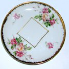 HK Pink Rose Demitasse Saucer for Square Base Cup, Gold Trim