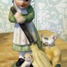 Ceramic Girl with Broom, Kittens at her feet