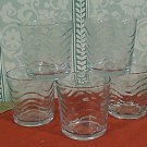 Five juice glasses in a ripple or wave pattern, circa 60's, 70's
