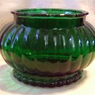 Vintage Oval Forest Green Flower Vase from ALR Co., Ribbed sides, scalloped rim